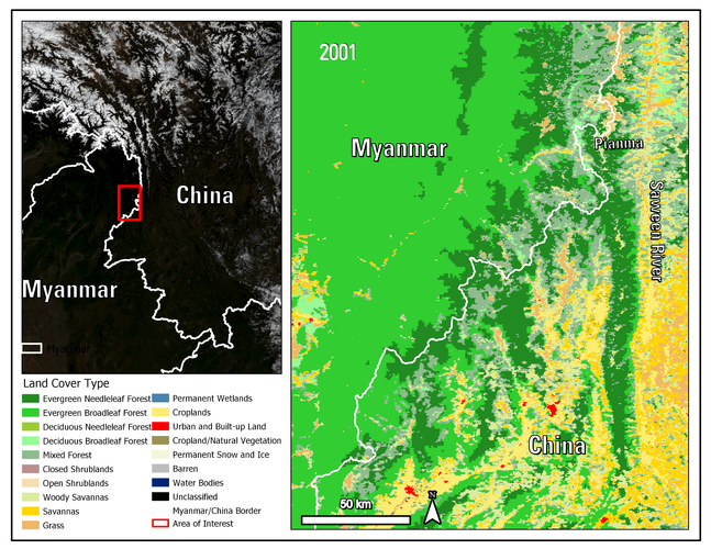 Combined Terra and Aqua International Geosphere-Biosphere Progamme (IGBP) land cover classification from 2001 shows both evergreen broadleaf forest (EBF) and deciduous broadleaf forest (DBF) in the area over the border of China and Myanmar.