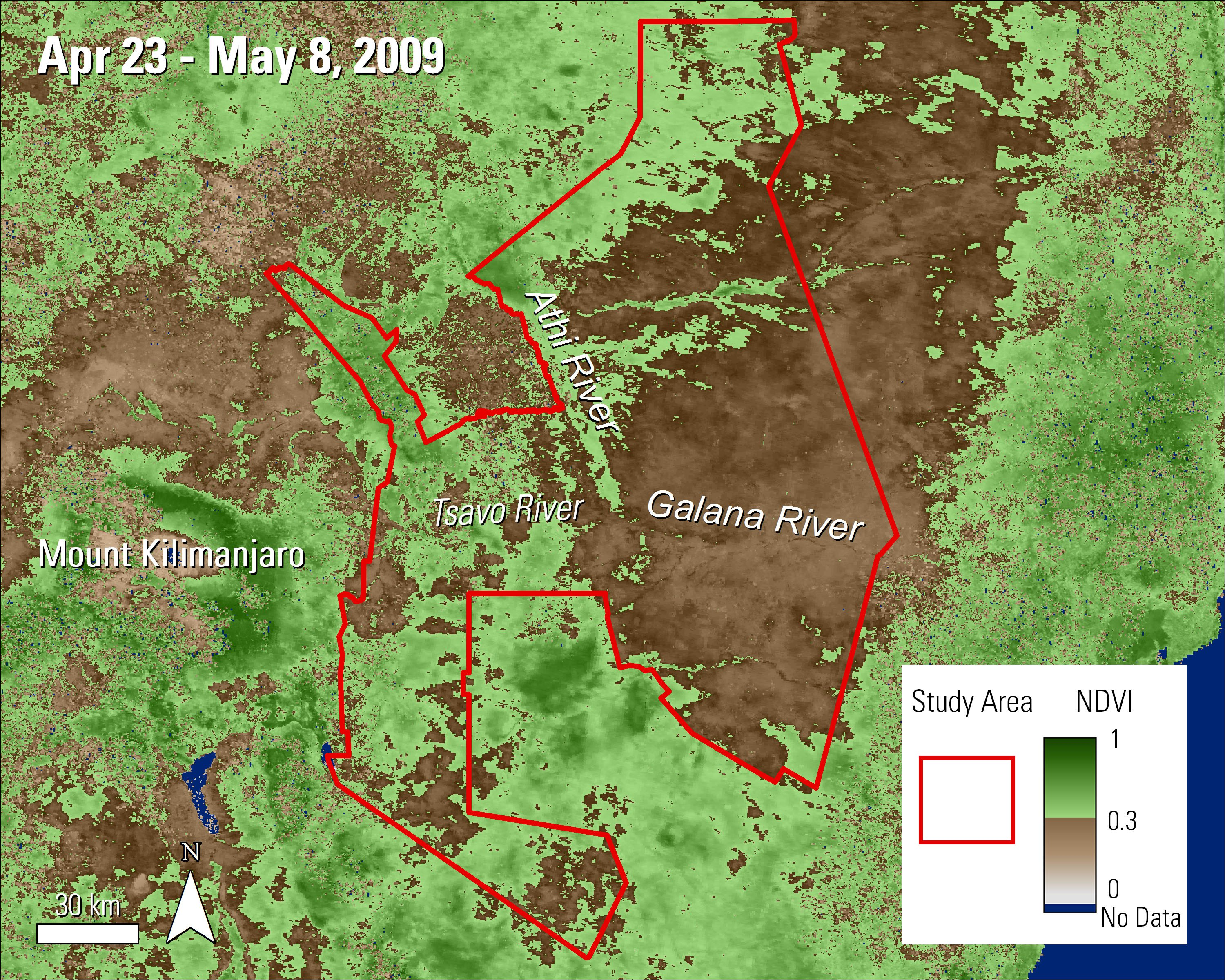 Terra MODIS NDVI data over the Tsavo Conservation Area in Kenya during April and May 2009.