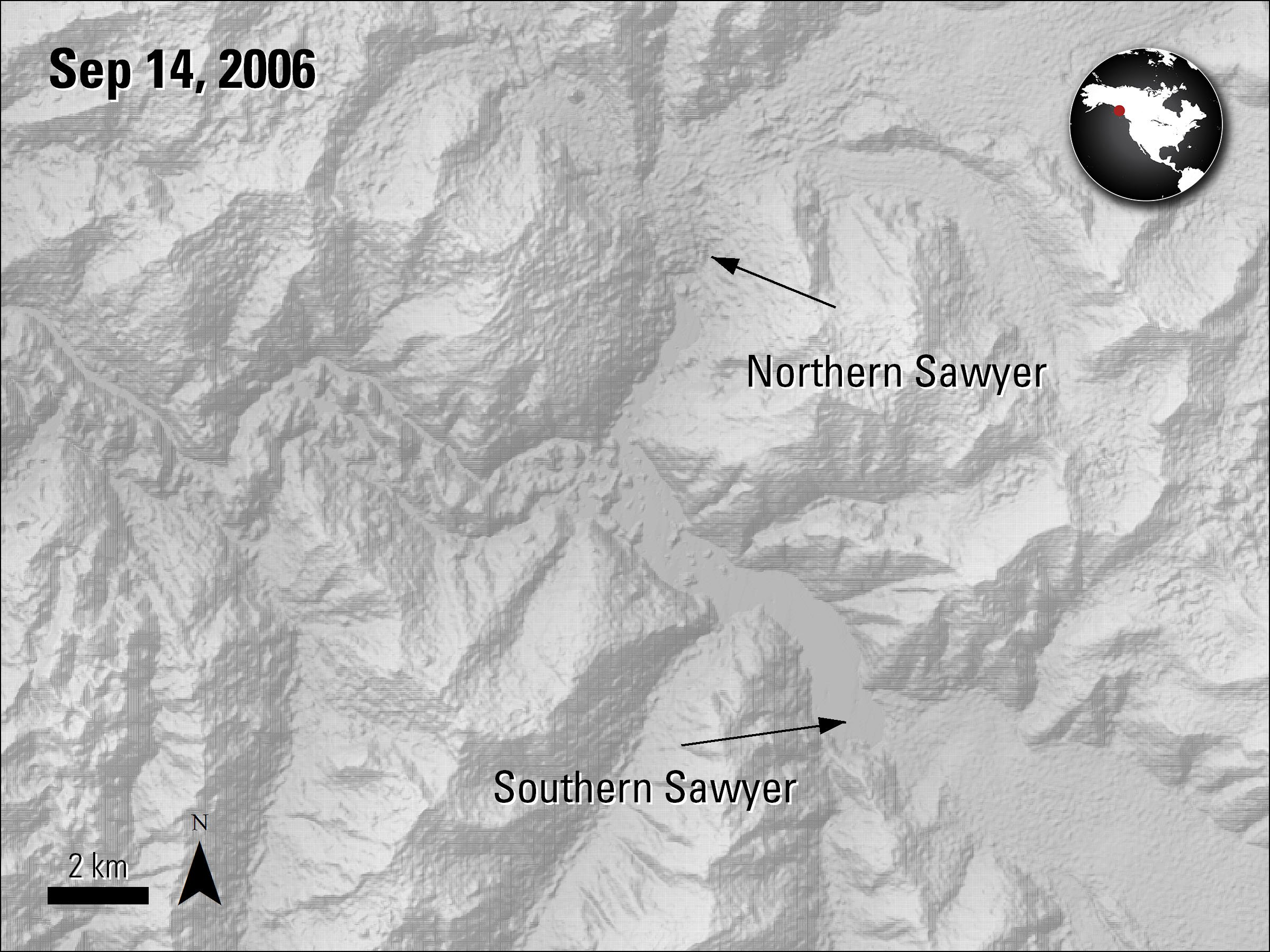 Terra ASTER Elevation imagery over Northern Sawyer and Southern Sawyer glaciers in Alaska, acquired September 14, 2006..