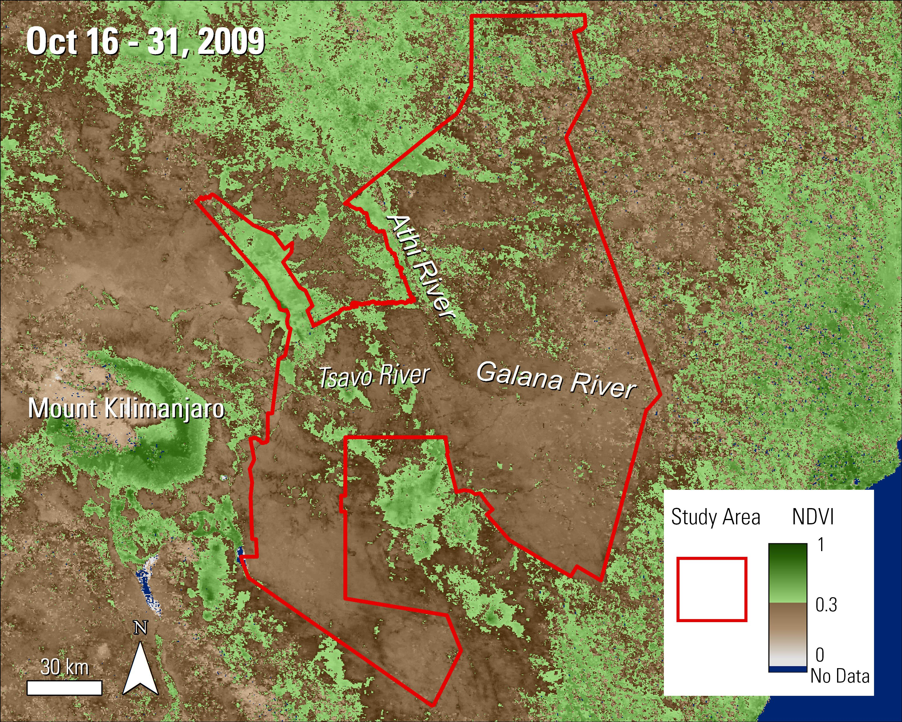 Terra MODIS NDVI data over the Tsavo Conservation Area in Kenya during October 2009.