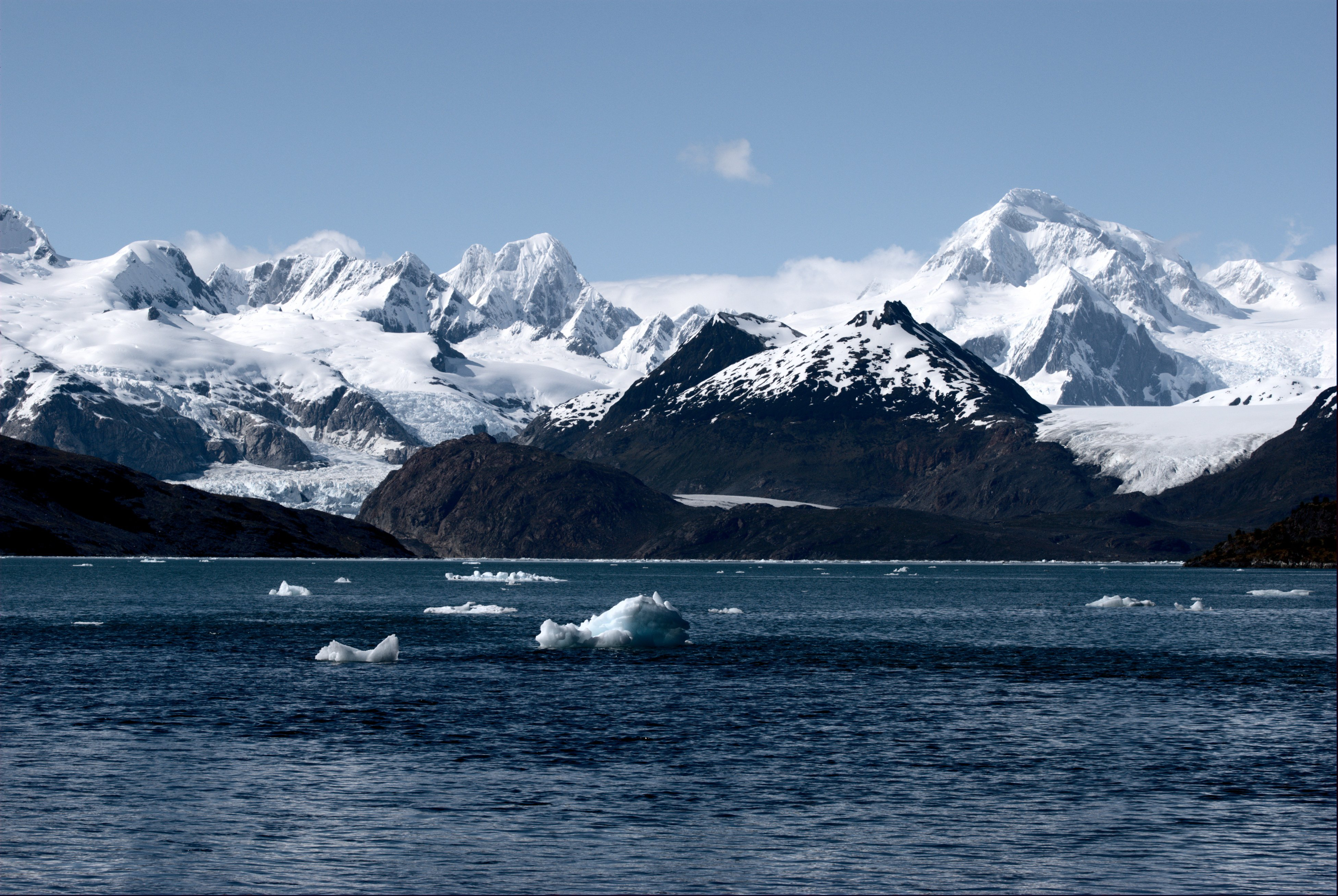 View of the Marinelli Glacier from Ainsworth Bay in southern Chile taken in December 2009.