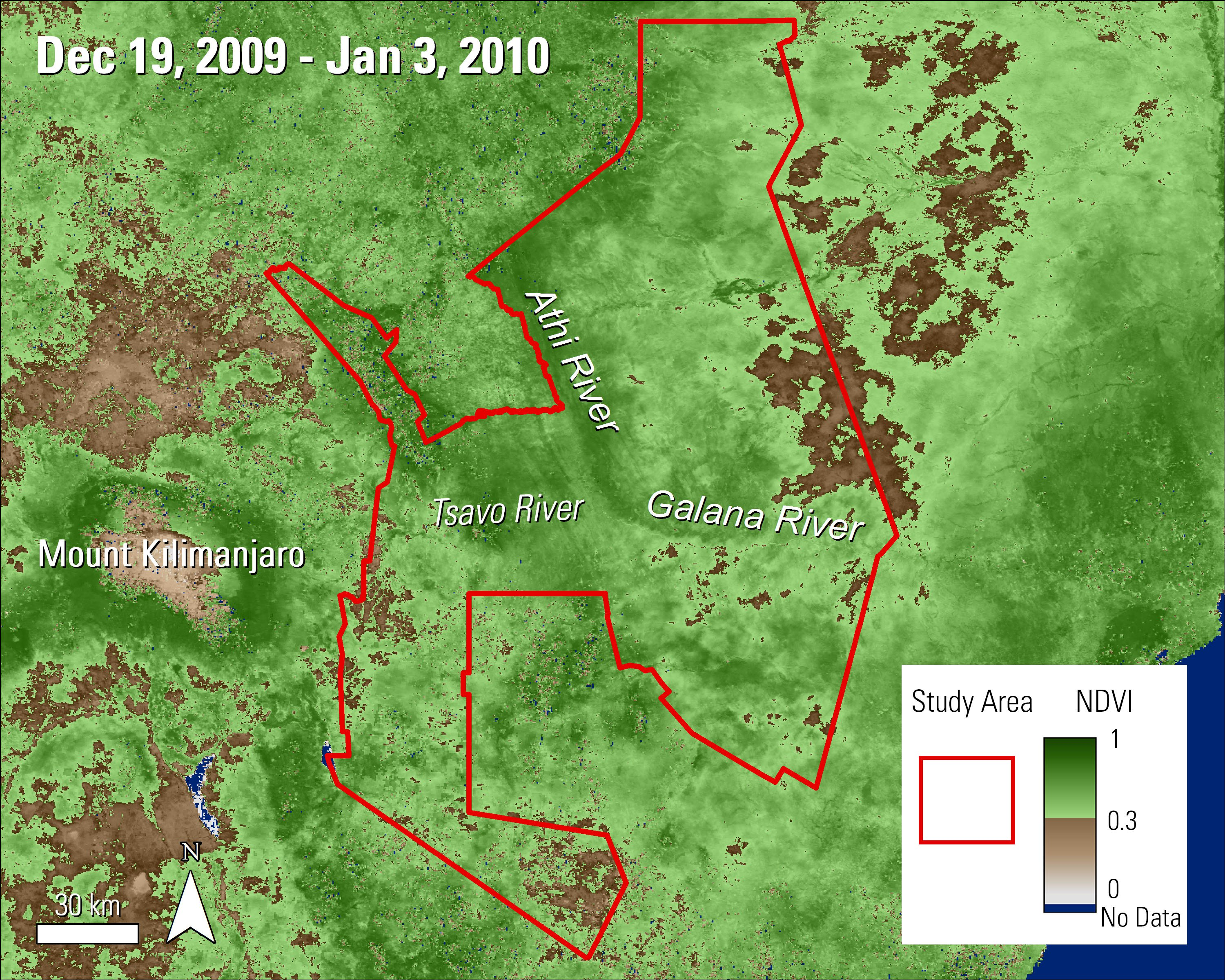 Terra MODIS NDVI data over the Tsavo Conservation Area in Kenya during December and January 2009.