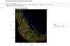 Screenshot of a Jupyter Notebook tutorial showing how to visualize Landsat ARD data extracted via AppEEARS.
