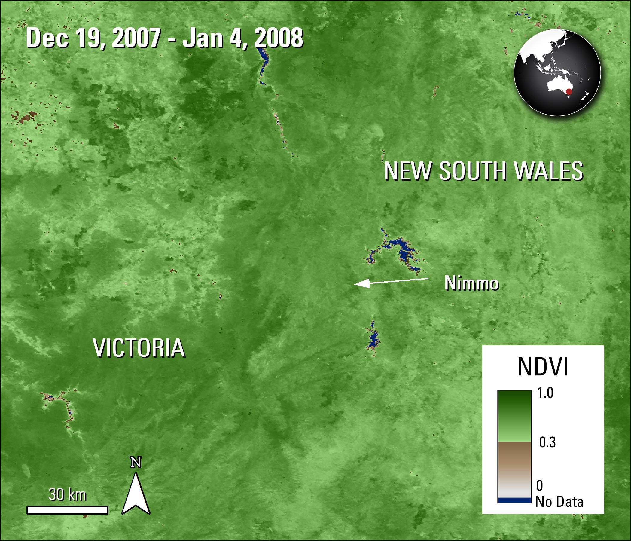 Terra MODIS NDVI data over part of Australia, acquired between December 19, 2007 and January 4, 2008.