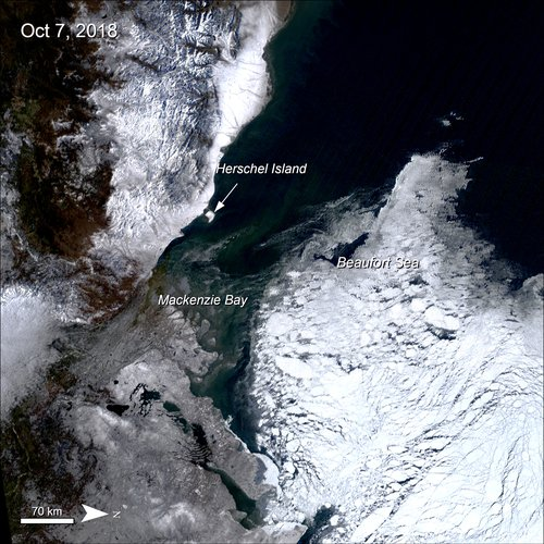 Terra MODIS true color Surface Reflectance data over the Beaufort Sea, Canada showing sea ice in white.