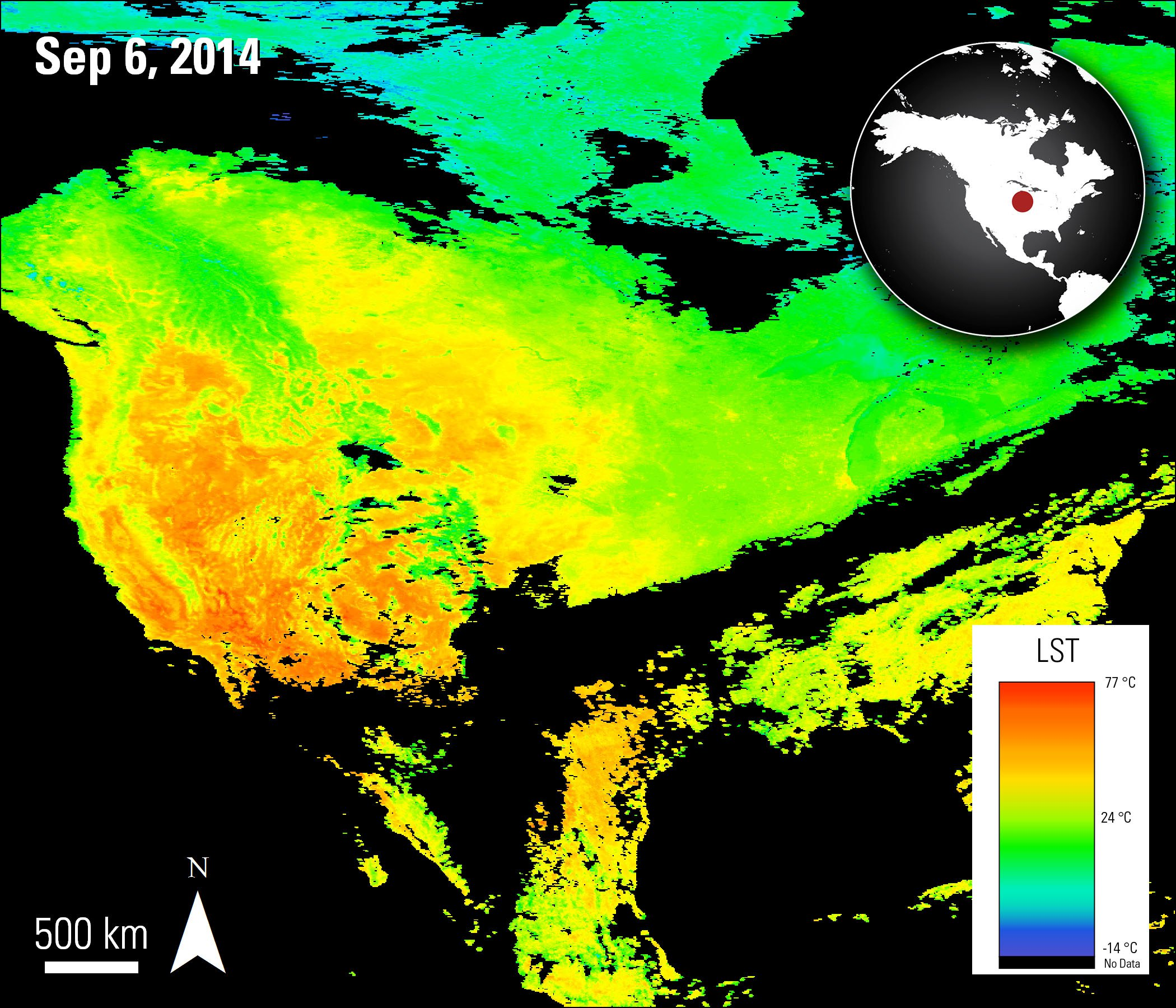 Aqua MODIS LST data over CONUS, acquired September 6, 2014.