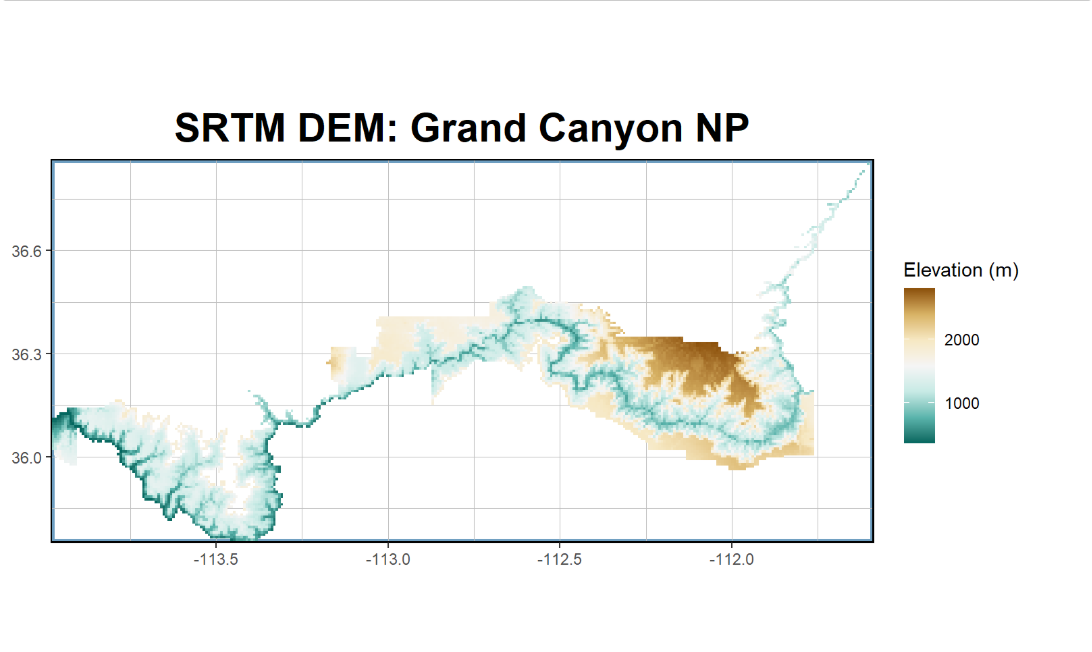R plot of DEM over Grand Canyon.