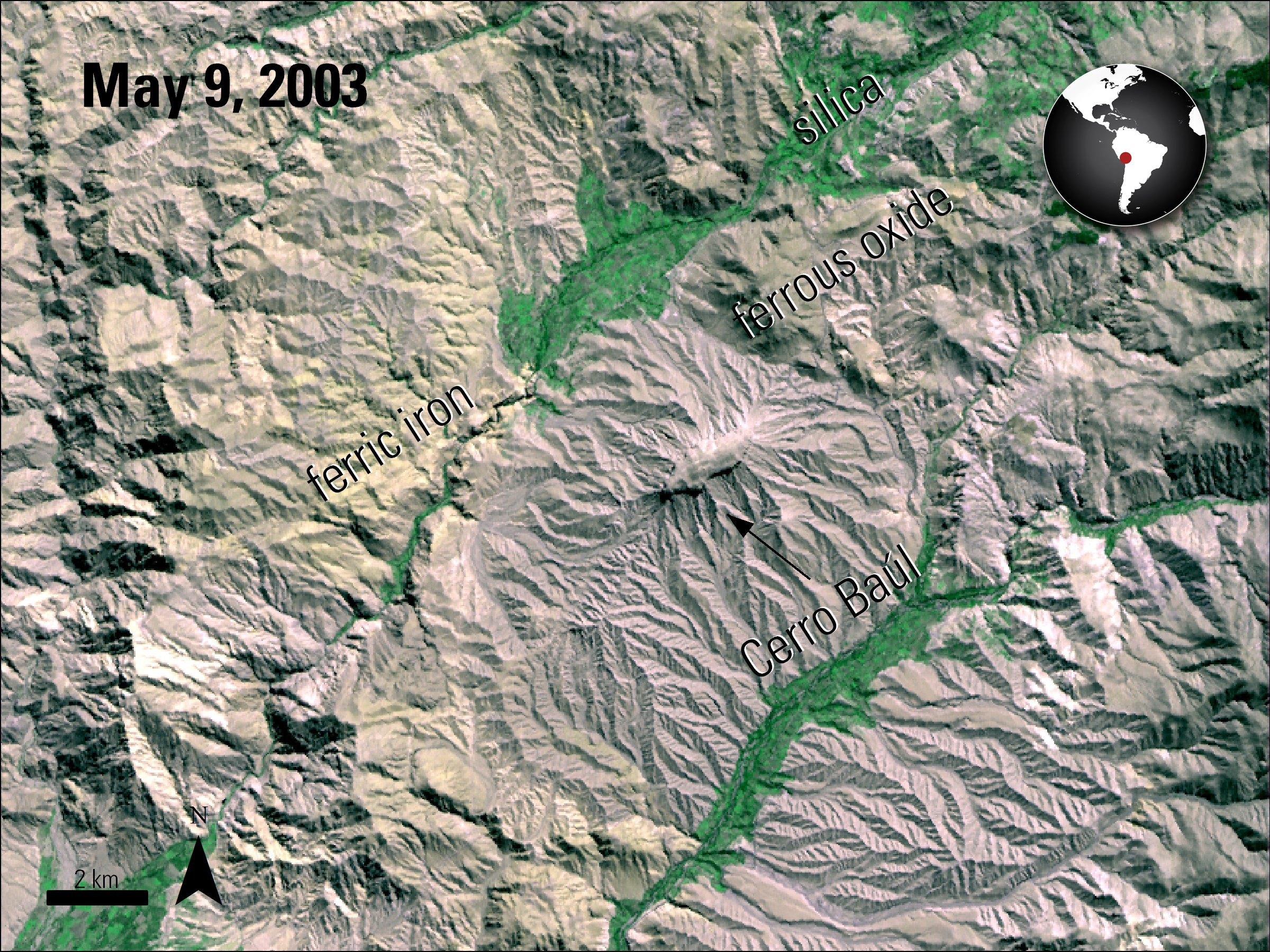Terra ASTER imagery over Cerro Baul, Peru.