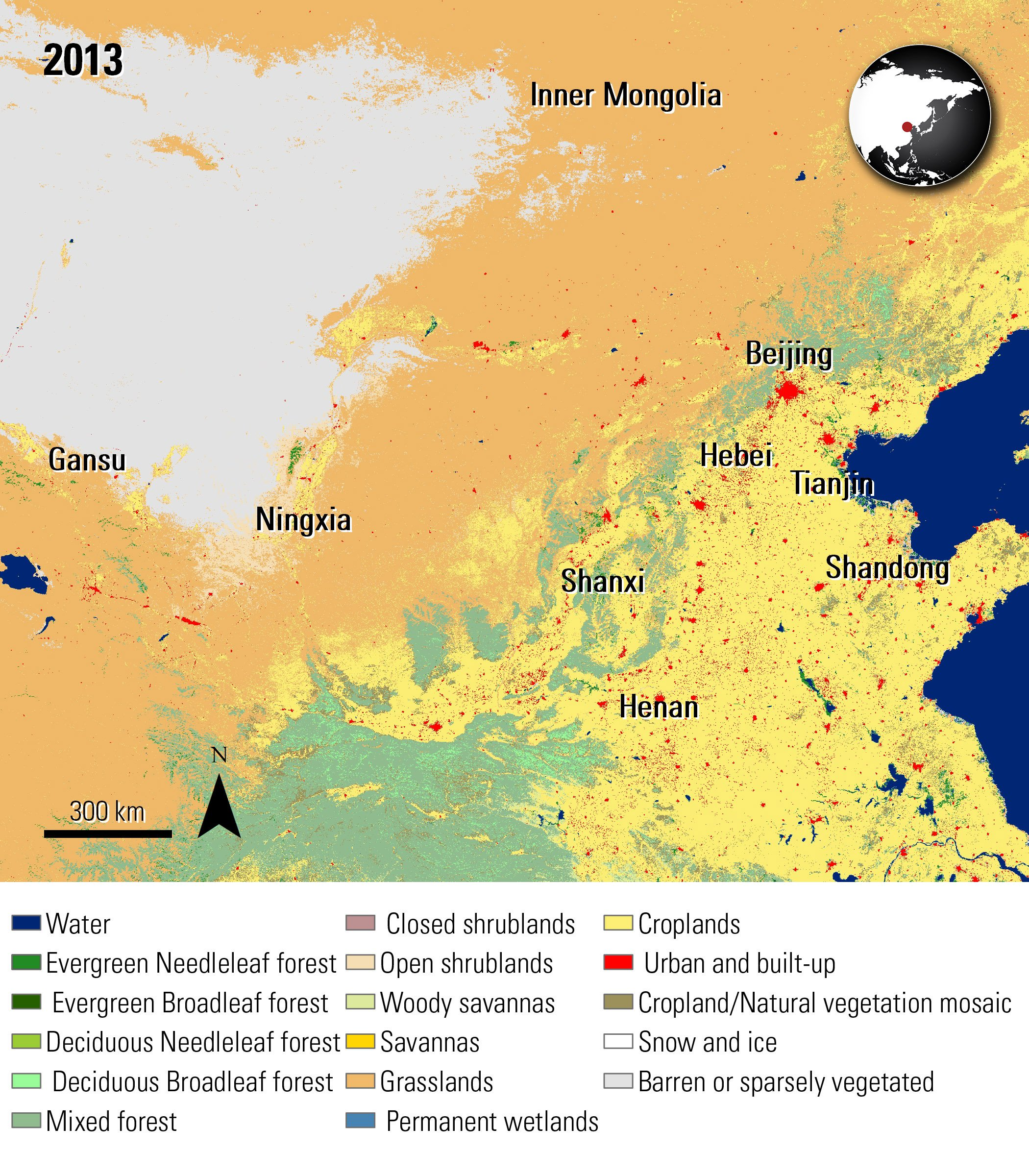 Combined MODIS Land Cover data over part of China, acquired in 2013.