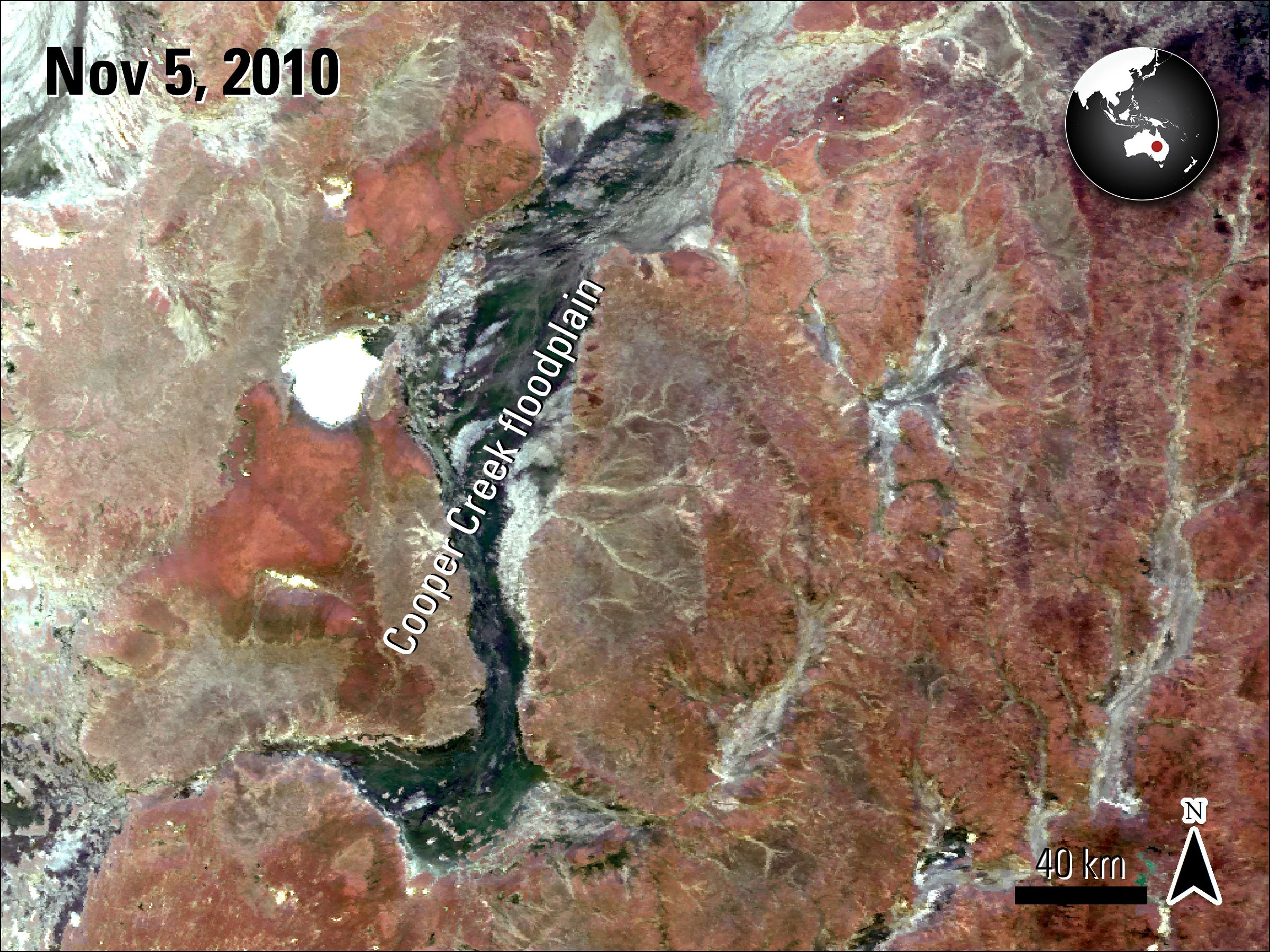 Terra MODIS Surface Reflectance data (MOD09GA) over Cooper Creek, Australia, acquired November 10, 2009.