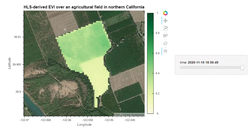 Holoviews plot showing HLS-derived EVI and color ramp in shades of yellow-green over a walnut orchard in northern California with natural color basemap underneath.