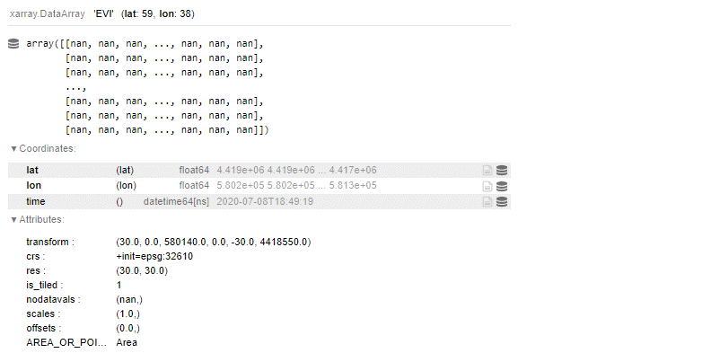 Xarray data array output including listings of data, coordinates, and attributes.