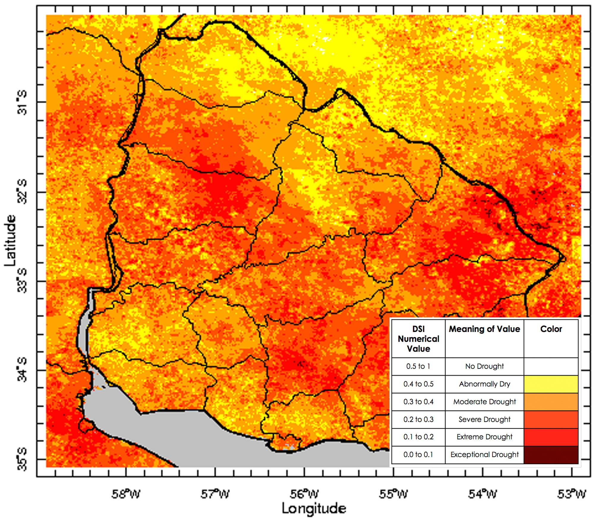 An image of the drought severity index created by the DEVELOP team using MODIS data.