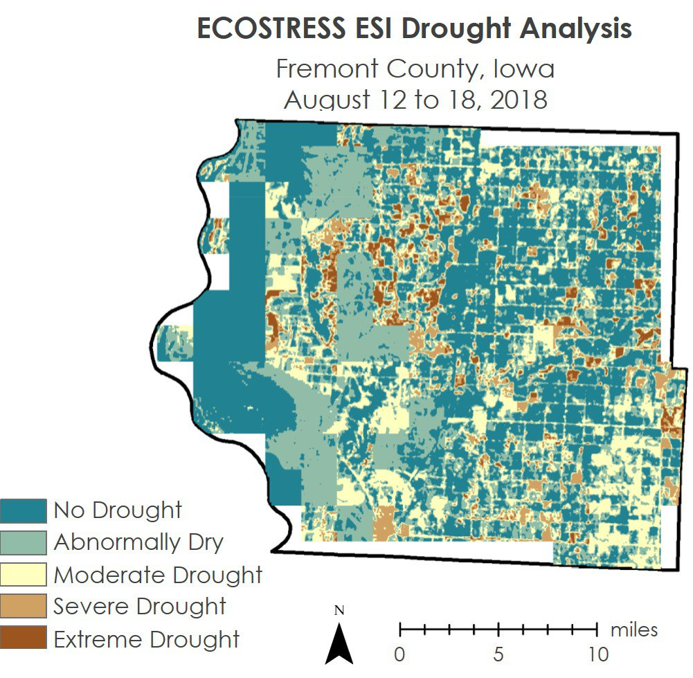 A map showing ECOSTRESS based Evaporative Stress Index (ESI).