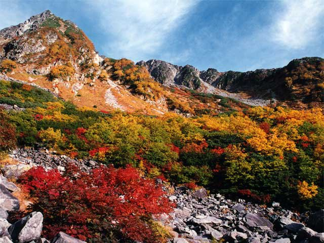 Autumn foliage showing shades of green, yellow, orange, and red in the Hida Mountains of Japan.
