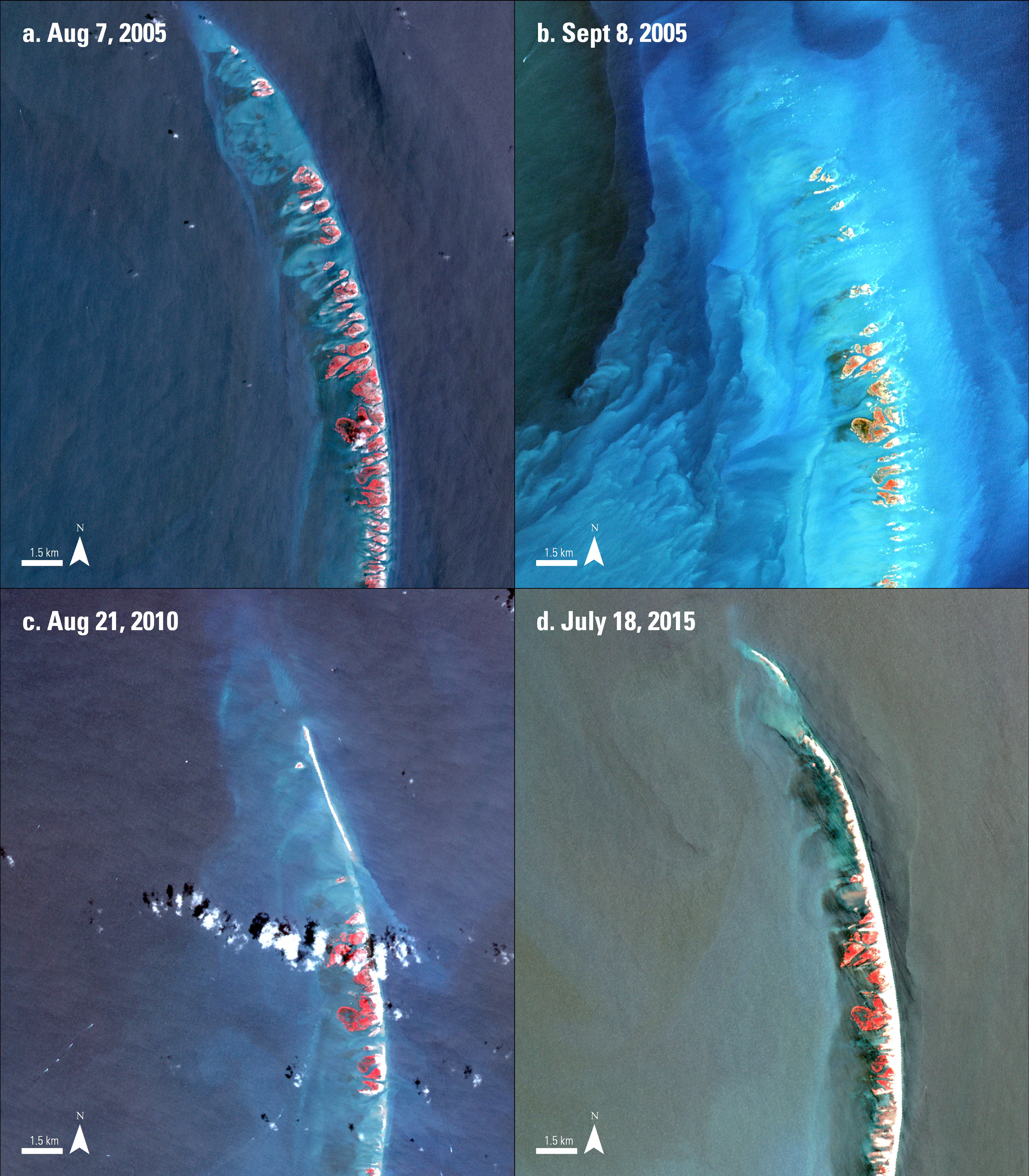 Four Terra ASTER surface reflectance images over the Chandeleur Islands showing the island before Hurricane Katrina, after, 5 and 10 years later.