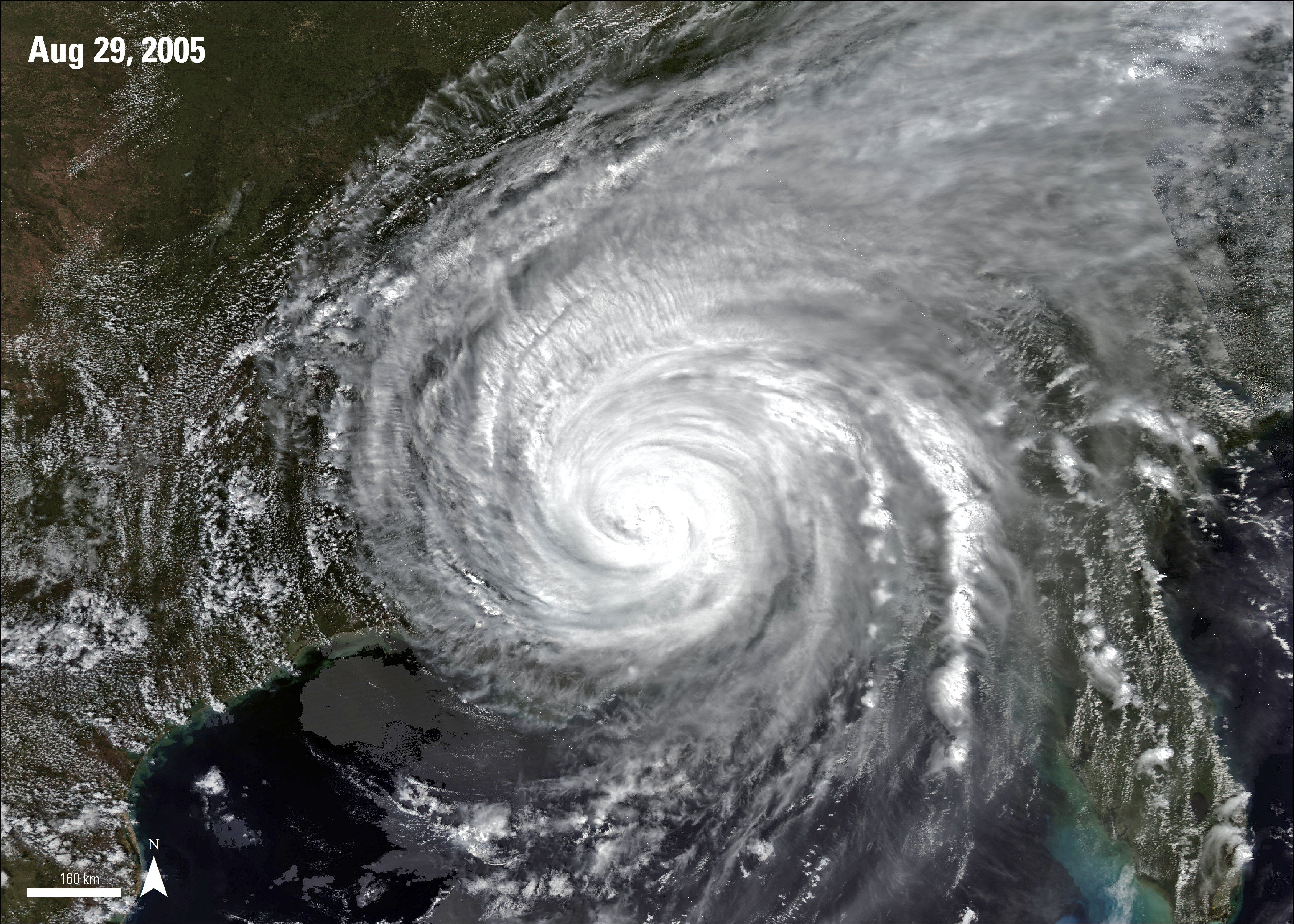 MODIS surface reflectance imagery over Hurricane Katrina, acquired August 29, 2005.