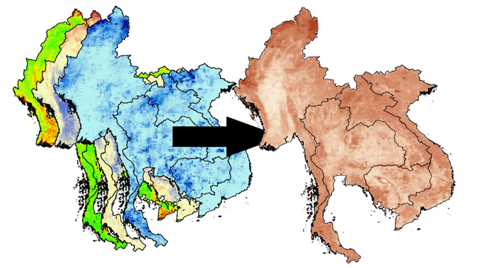 A visualization of the NASA Earth Observation data used in the Mekong River Basin Agriculture DEVELOP project.