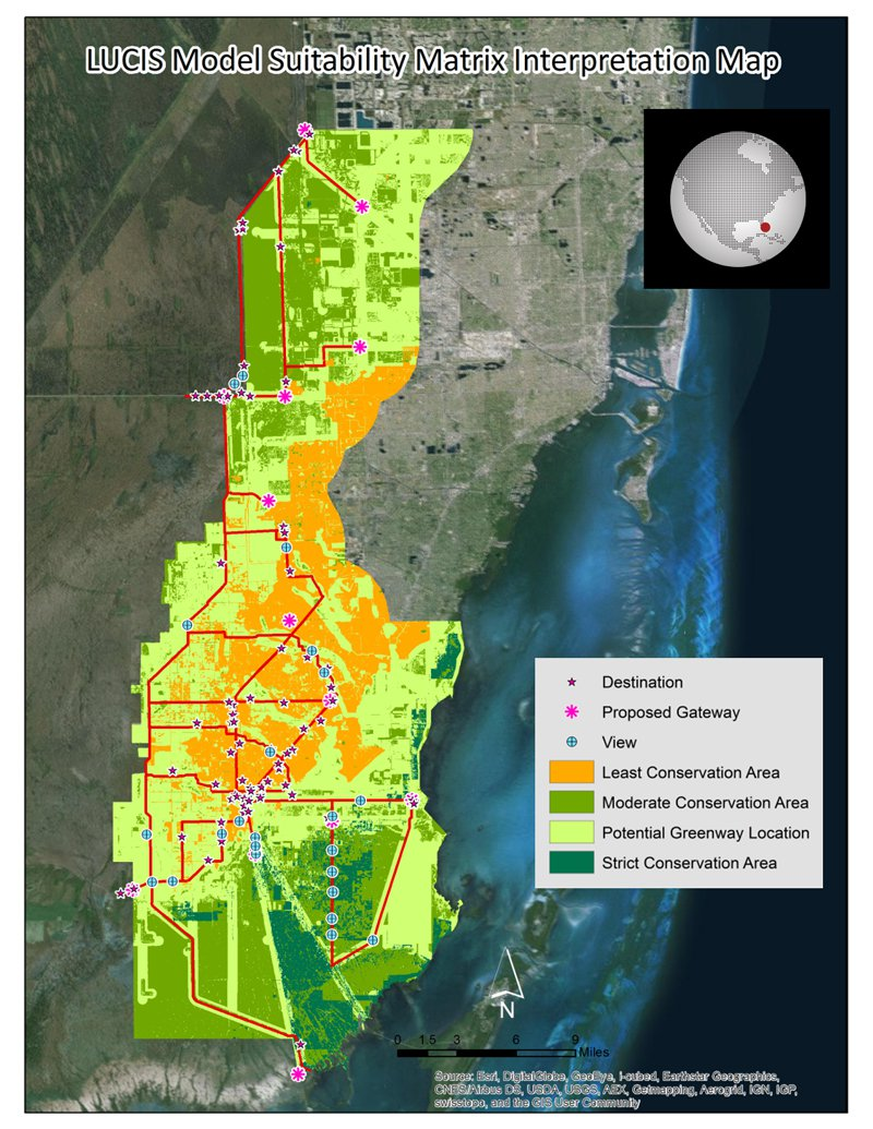 Land cover classifications for Miami-Dade County were derived from an ASTER image captured on March 7, 2011.