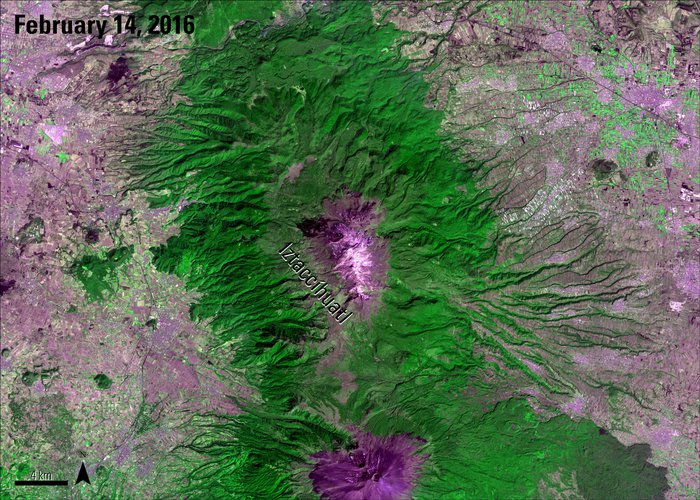 Terra ASTER Surface Radiance image of Mount Iztaccíhuatl, Mexico with labels, acquired February 14, 2016.