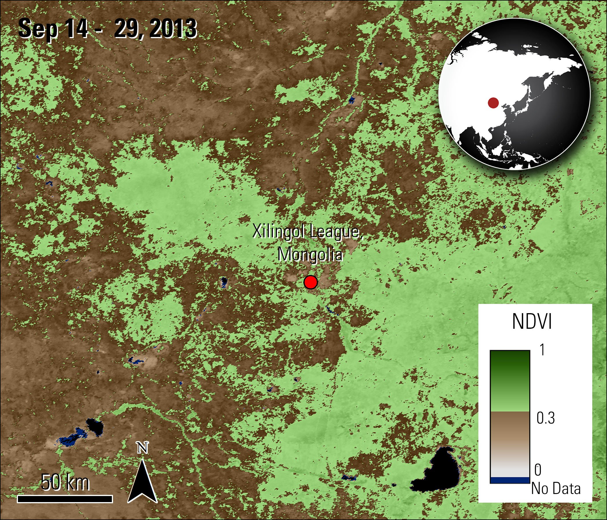 Terra MODIS NDVI data over Inner Mongolia, China, acquired between September 14 and 29, 2013.