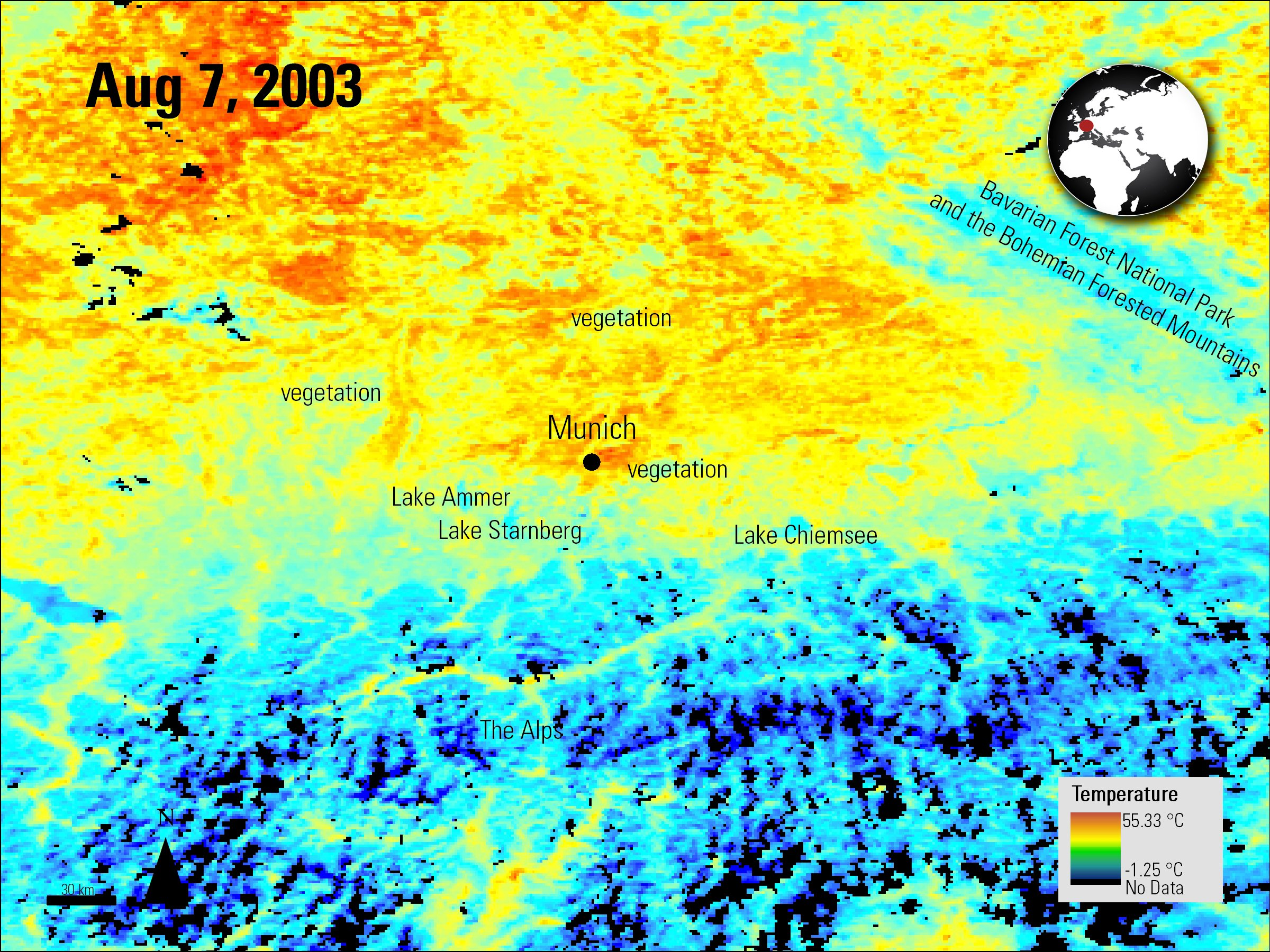 Aqua MODIS daytime land surface temperature data over Munich, Germany.
