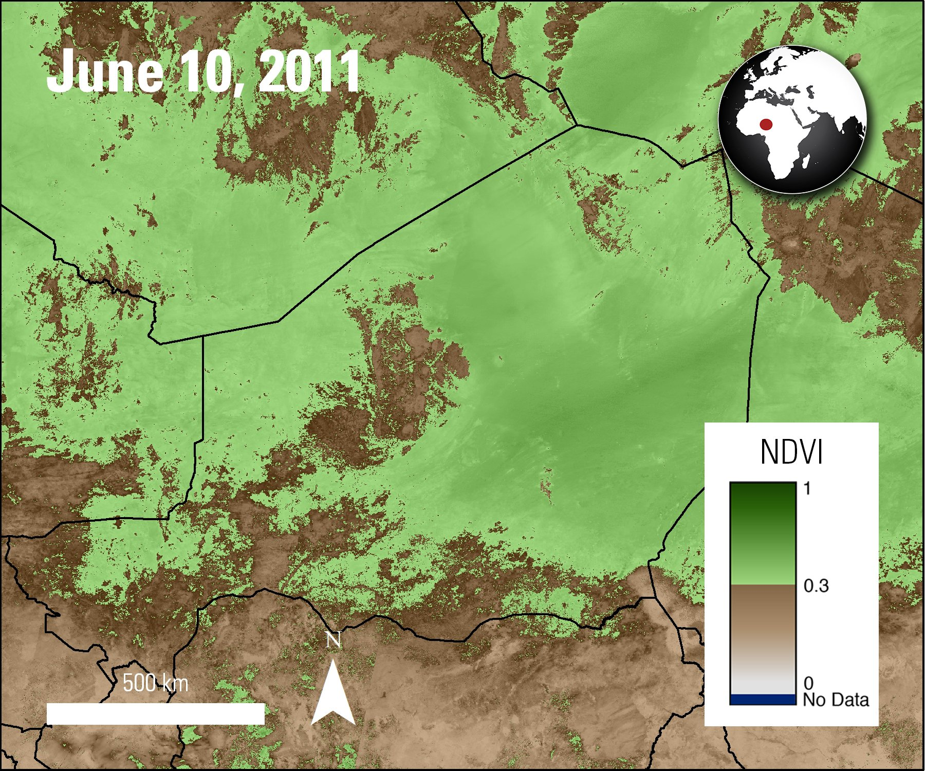 MODIS Terra MODIS NDVI calculated from Surface Reflectance data over part of Africa, acquired June 10, 2011.