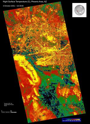 An example of a nighttime ASTER surface temperature image of Phoenix, Arizona.