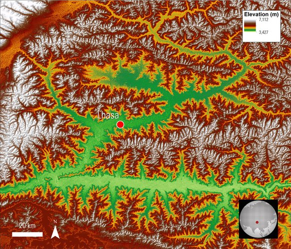 ASTER GDEM data of the area surrounding Lhasa on the Tibetan Plateau, with color and hillshade applied.