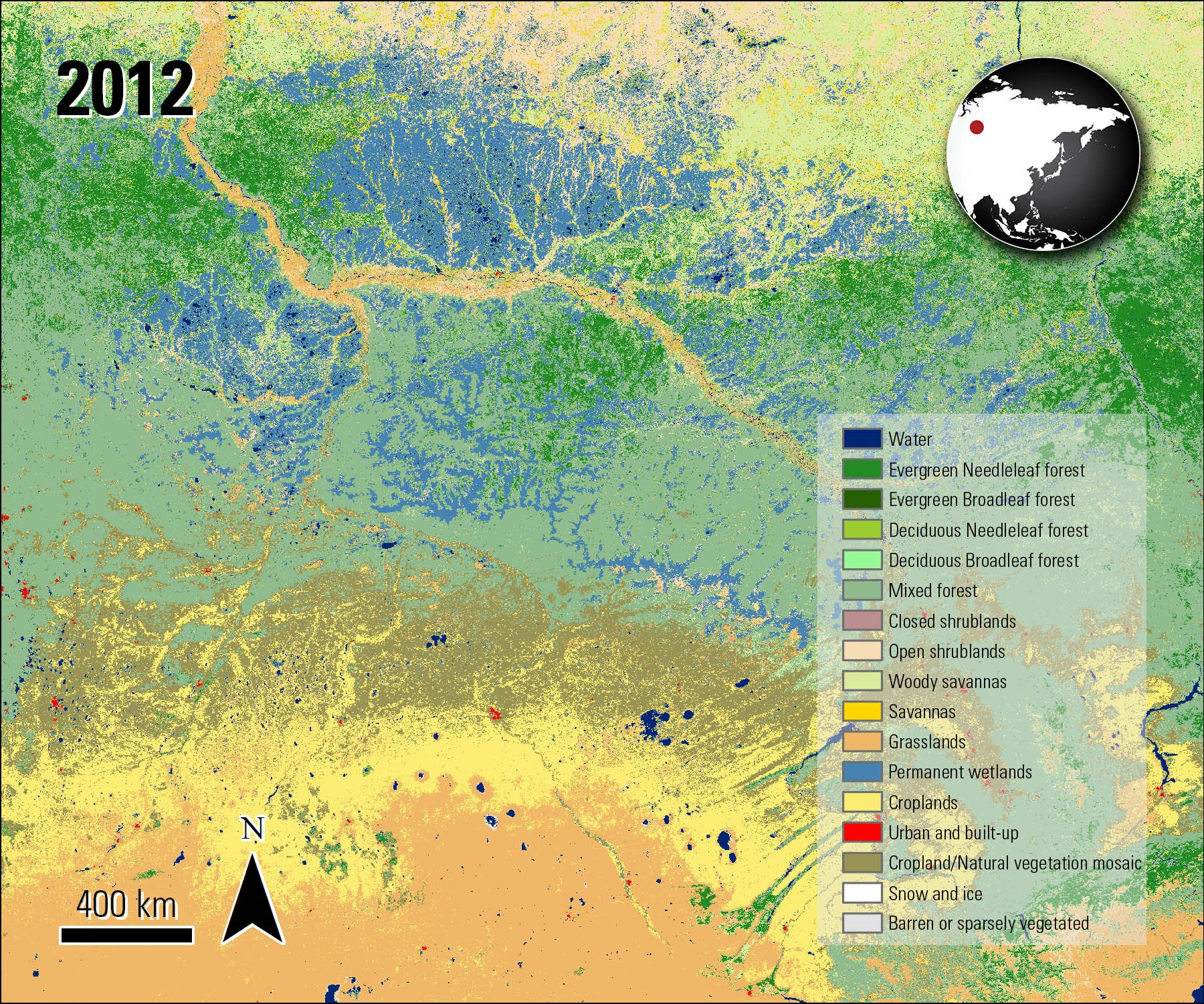 Combined MODIS Land Cover over Siberia, acquired in 2012.