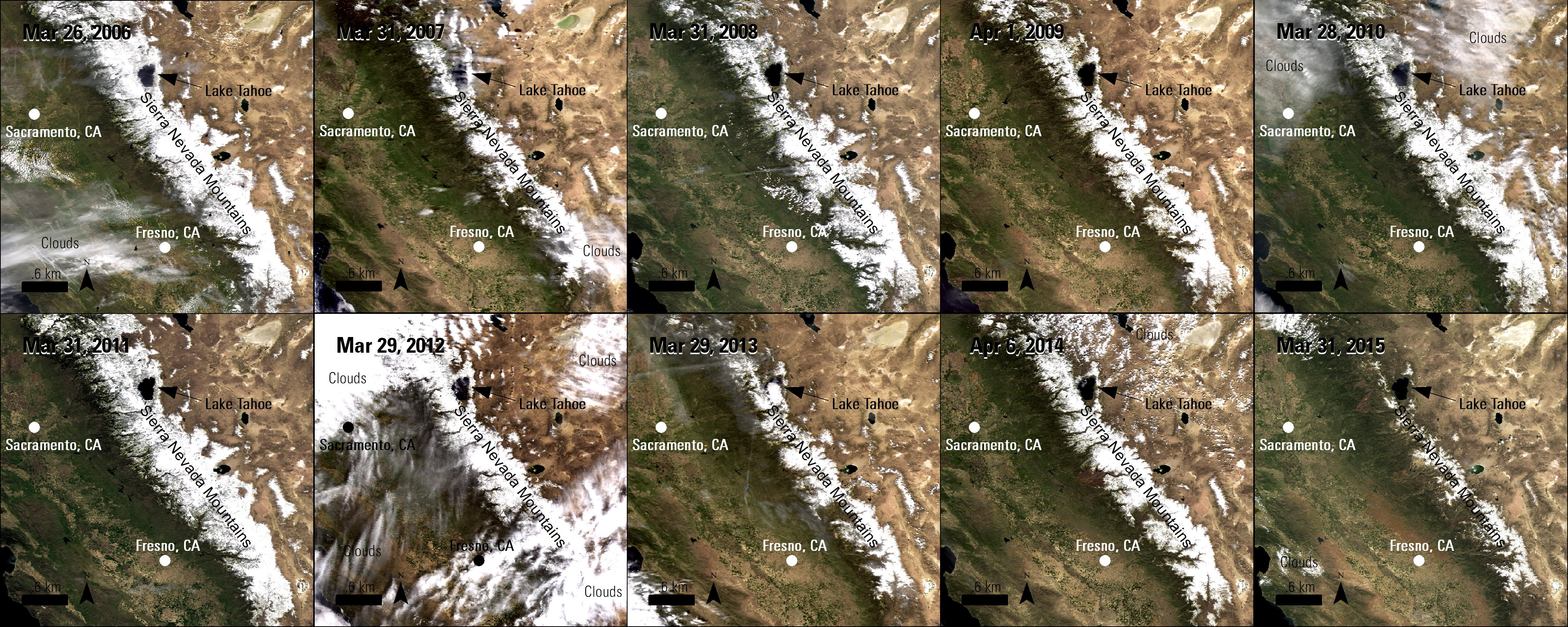Ten Terra MODIS Surface Reflectance images over the Sierra Nevada Mountains, California, United States showing changes in snow pack cover throughout 2006 to 2015.