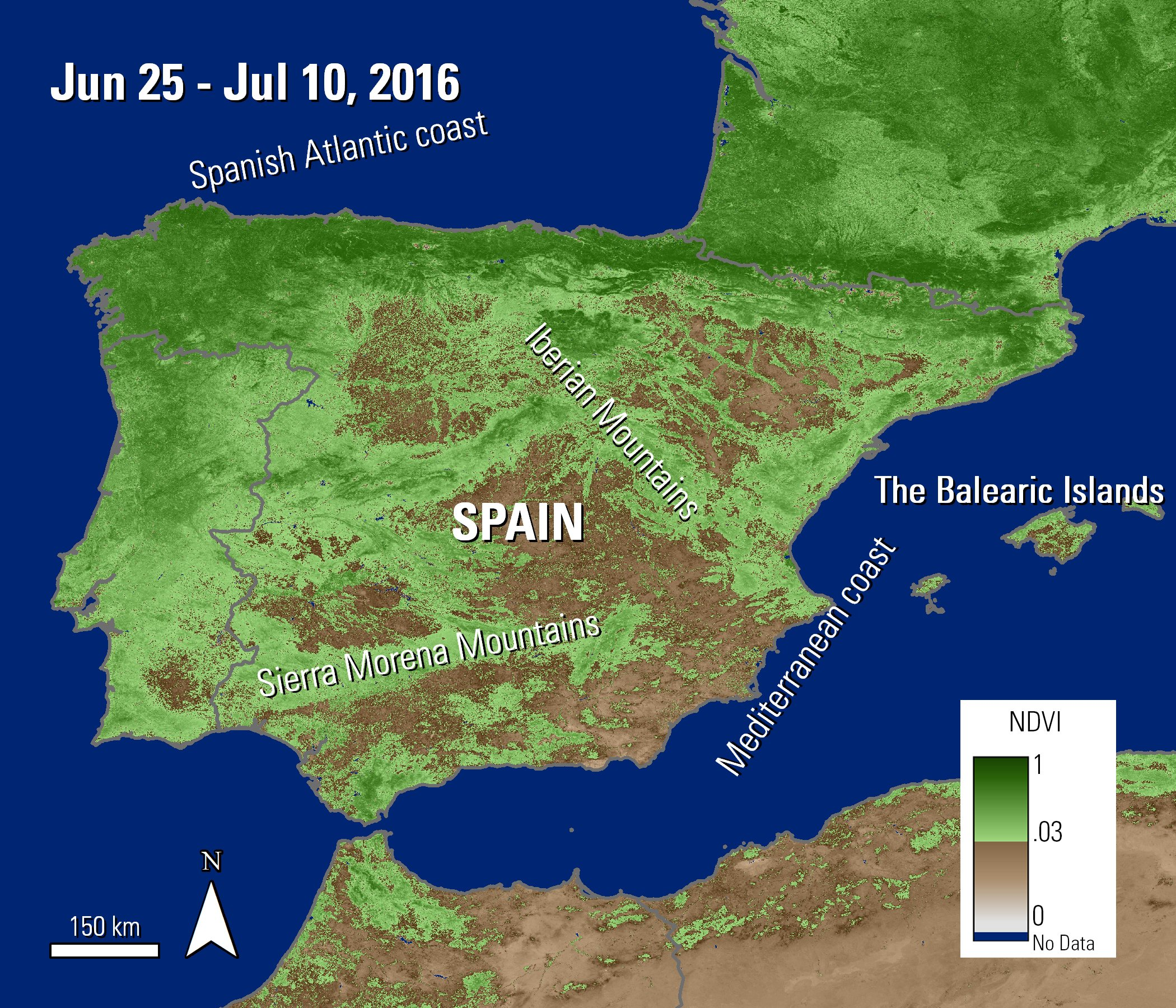 The MODIS NDVI layer over Spain and the Balearic Islands. Vegetation is shown in various shades from brown to dark green. Areas in north and western Spain are show as green, where as areas in southern and East Spain are more brown.