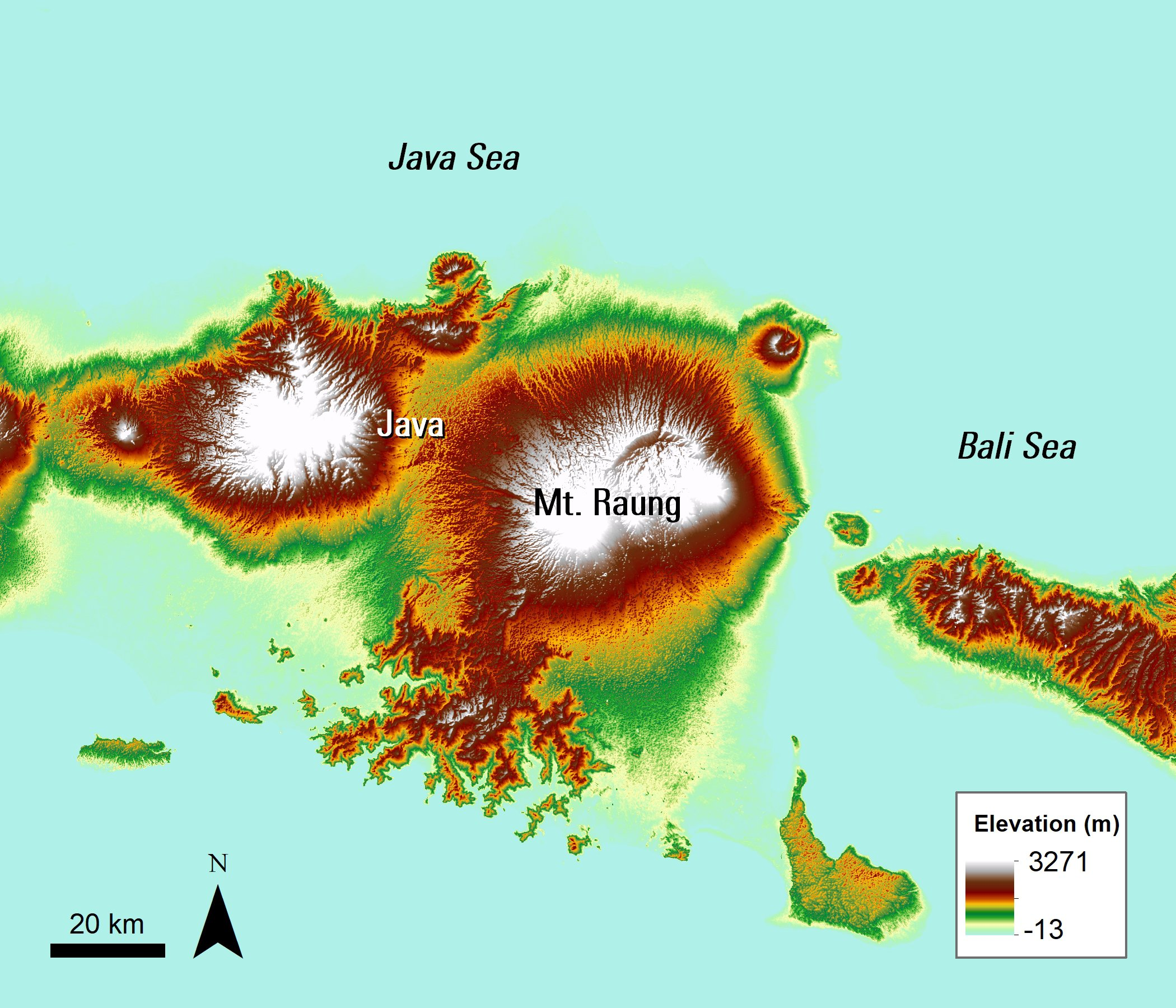 An ASTER Elevation image over Mt. Raung, Java, Indonesia.