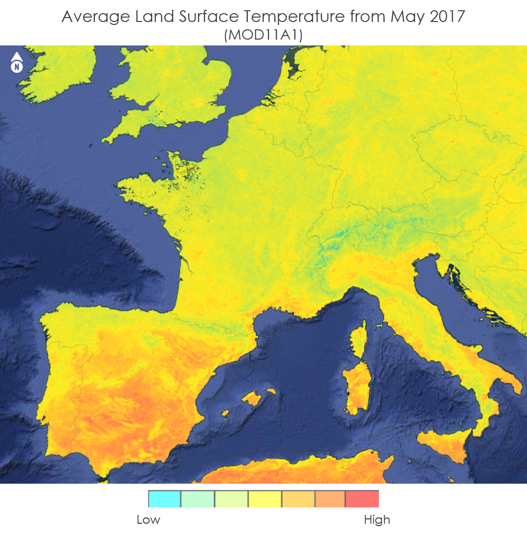 Map of Terra MODIS LST Data over Europe provided by the DEVELOP team, acquired May 2017.