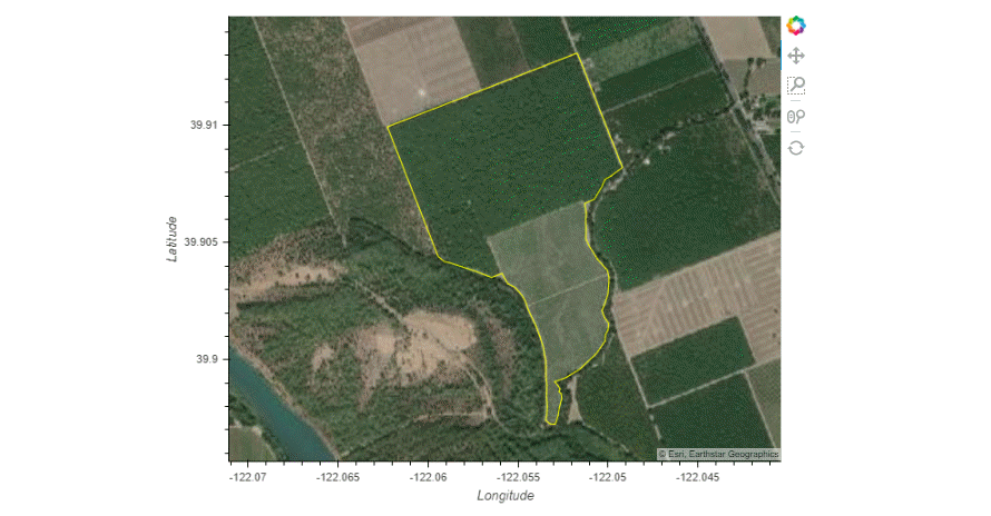 Basemap image showing walnut orchard in northern California outlined by the field boundary in yellow.