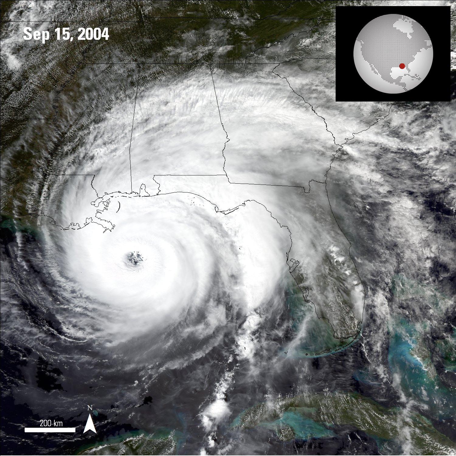 Aqua Moderate Resolution Imaging Spectroradiometer (MODIS) image of Hurricane Ivan rotating over the Gulf of Mexico on September 24, 2004.