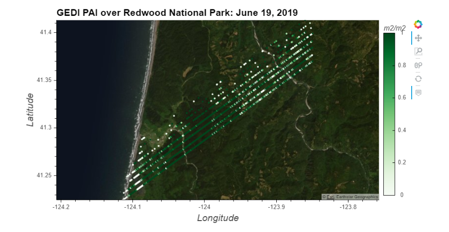 GEDI PAI over Redwood National Park.