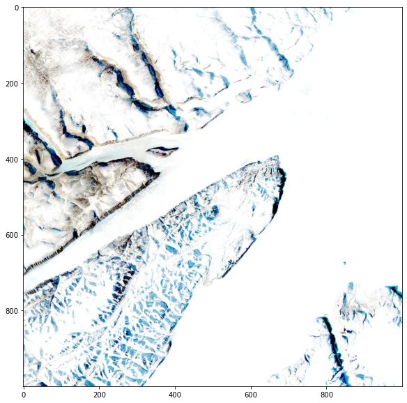 HLS browse image showing ice, snow, and mountains over an unknown location.