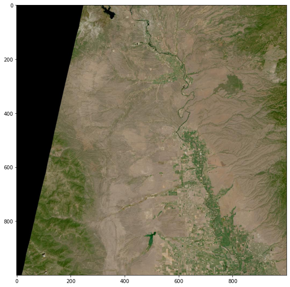 HLS natural color browse image over northern California.