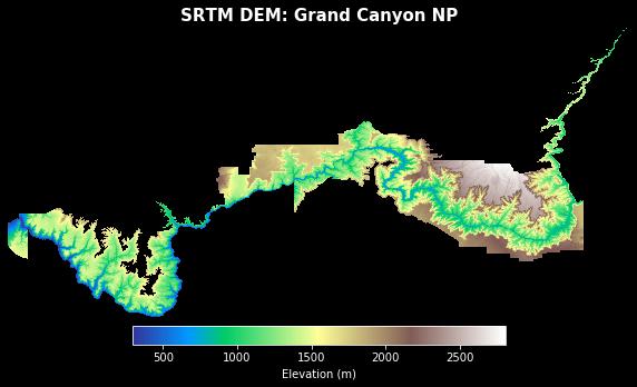 SRTM DEM over the Grand Canyon.