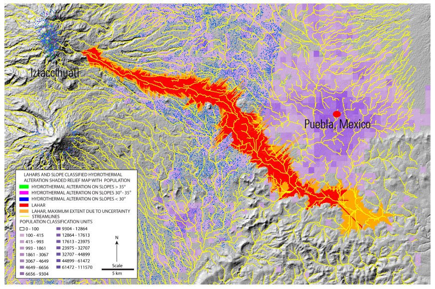 Lahar Inundation map Mexico created by Mars and others 2015.